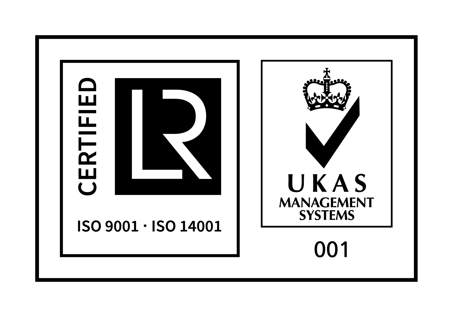 UKAS AND ISO 9001 AND ISO 14001 CMYK MARK